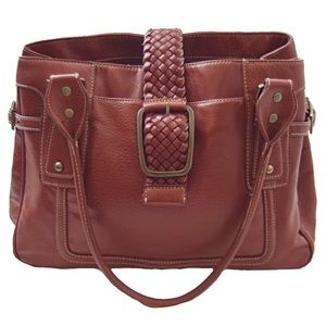 Nine West Brown Braided Buckle Leather Purse